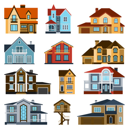 front house: Houses front view vector illustration. Houses flat style modern constructions vector . House front facade building architecture home construction, urban house building s apartment front view Illustration