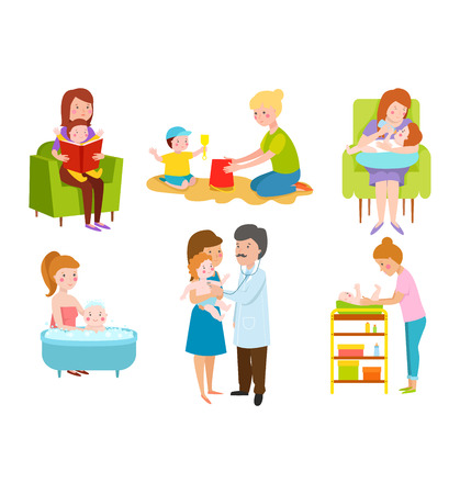 Young mother vector characters and young mother happy parent. Young mother vector set. Togetherness newborn face young mother lifestyle cheerful motherhood. Young family portrait Vector Illustration