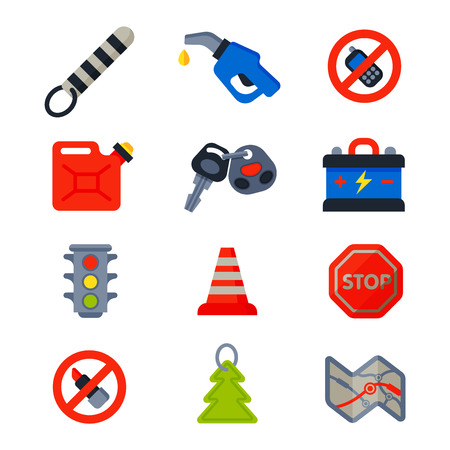 car driver: Auto transport motorist icons symbols and equipment auto transport symbols vector. Auto transport service and car driver tools icons high detailed vector set. Motorist driving icons