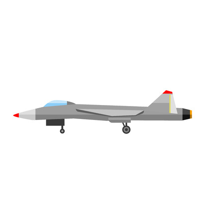 air war: Military fighter jet soaring through air vector and fighter air speed aircraft fly war aviation. Wing army armed weapon technology fighter and fighter design navy isolated supersonic vehicle.