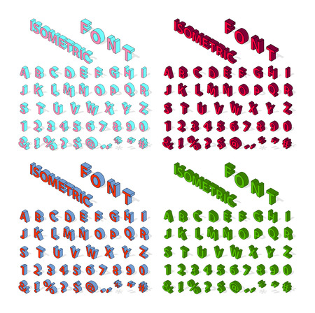 Isometric alphabet typography text and isometric alphabet perspective letter art. Isometric alphabet latin number retro 3d typeface. Isometric alphabet font 3D letters for web mobile device vector. Illustration
