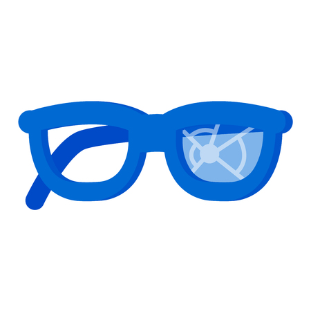 eyewear: Broken glasses destroyed break spectacles. Damaged eye old cracked glass with blue frame optical fashion vision. Plastic accident view modern destruction eyewear vector accessory.