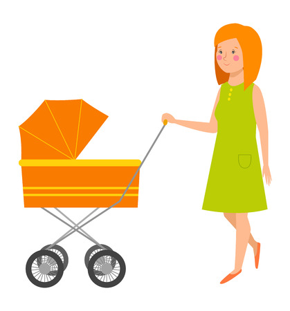 motherhood: Young mother vector character and young mother happy parent. Newborn face young mother lifestyle cheerful motherhood. Young family portrait. Mother and baby