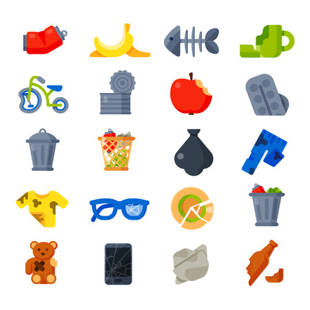 household waste: Vector drawings set of waste and garbage for recycling. Container reuse separation household waste garbage icons. Household waste garbage icons garbage trash rubbish recycling ecology environment.