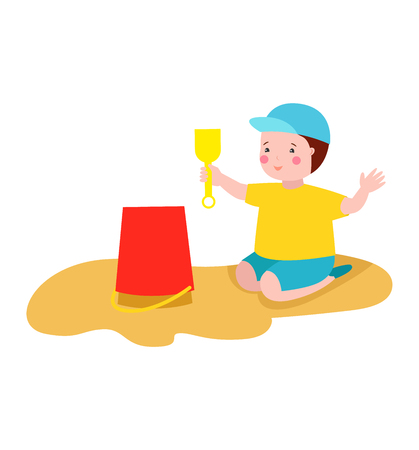 Happy kid playing in sandbox adorable cheerful little character. Childhood summer playground sand kid playing sandbox. Little cute happy play kid playing sandbox outdoor with toy vector character.