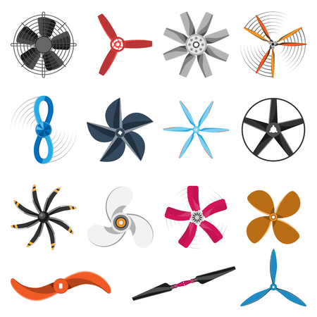 Set of fans and propellers icons isolated vector object. Propeller fan icons cool ventilation ship symbol retro cooler boat equipment. Ventilator symbol wind equipment propeller fan icons.