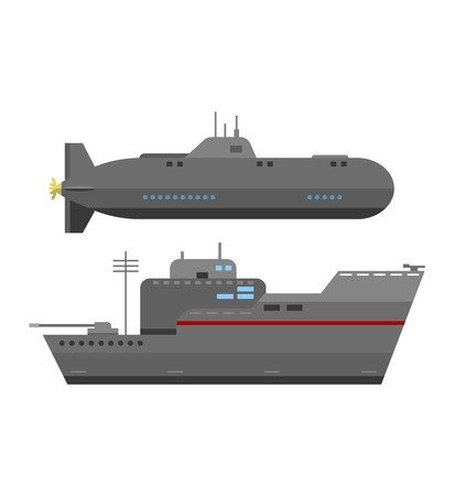 Grey modern warship sailing still water vector. Military ship navy war sea warship and military ship boat vessel weapon. Military ship transportation naval water battle destroyer marine forces. Illustration