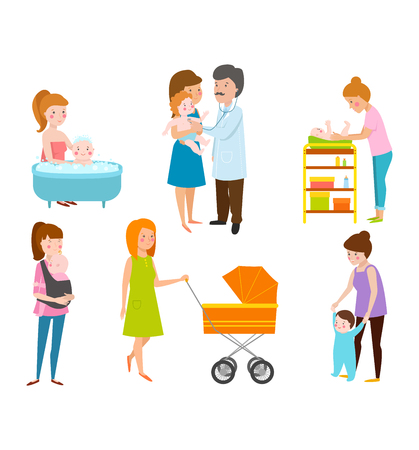 motherhood: Young mother vector characters and young mother happy parent. Young mother vector set. Togetherness newborn face young mother lifestyle cheerful motherhood. Young family portrait