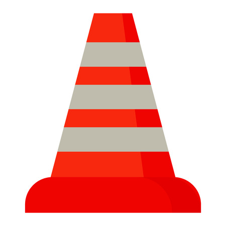 Red road cone barrier and street warning traffic cone flat icon. Construction of red road cones with stripes attention symbol cartoon flat vector illustration. Illustration