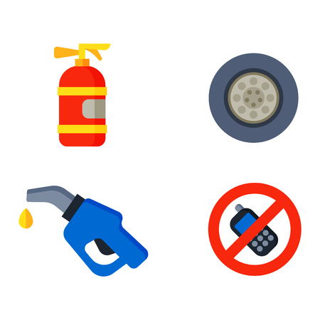 red traffic light: Auto transport motorist icons symbols and equipment auto transport symbols vector. Auto transport service and car driver tools icons high detailed vector set. Motorist driving icons