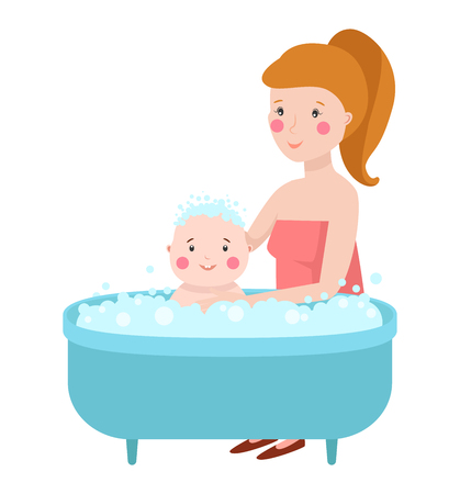 infant bathing: Happy laughing baby taking bath playing with mother. Little child in bathtub. Smiling kid in bathroom with foam. Infant washing baby in bath and bathing. Hygiene care for young children.