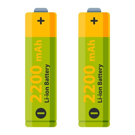 バッテリー電気充電技術とアルカリ性。平らな電池アキュムレータ シンボル生成電圧。色 batterie 電気料金技術ベクトル。