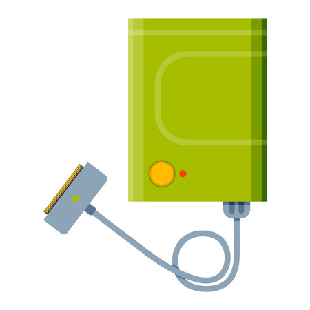 isolated illustartion: Charger vector flat illustartion. Technology charger vector isolated on white. Hi energy technology equipment icon. Charger element for phone or computer.