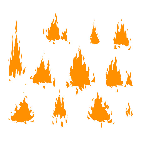 Fire flame hot burn vector icon. Warm danger fire flame and cooking yellow bonfire. Light blazing campfire ignite fire flame design and detail fireplace passion sign. Illustration