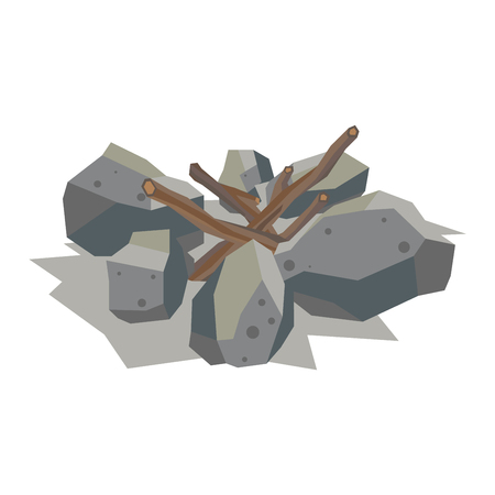 sliced tree: Firewood fireplace for bonfire stack vector stone material. Firewood stacked stones blocks. Firewood bonfire stack energy industry. Fireplace stack vector illustration isolated