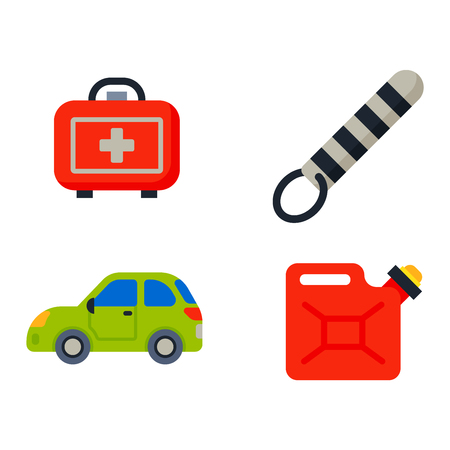 motorist: Auto transport motorist icons symbols and equipment auto transport symbols vector. Auto transport service and car driver tools icons high detailed vector set. Motorist driving icons