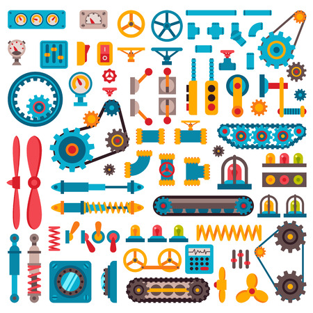 machine parts: Machine parts different mechanism vector manufacturing work detail design. Gear different mechanism equipment part industry technical engine. Vector technology mechanism icons set factory tool.