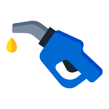 automotive industry: Automotive refueling gun benzine pollution power. Car fuel pistol nozzle car petroleum energy refueling industry transport symbol. Isolated fuel pistol tank petrol gas station nozzle economy vector.