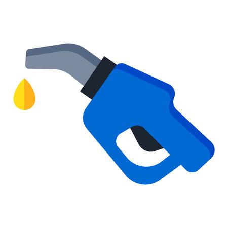 benzine: Automotive refueling gun benzine pollution power. Car fuel pistol nozzle car petroleum energy refueling industry transport symbol. Isolated fuel pistol tank petrol gas station nozzle economy vector.