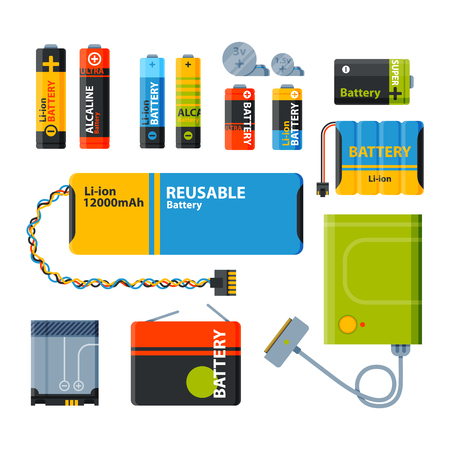 aaa: Battery electricity charge technology and alkaline battery. Flat battery accumulator charger symbol generation voltage. Group of different size color batteries electricity charge technology vector.