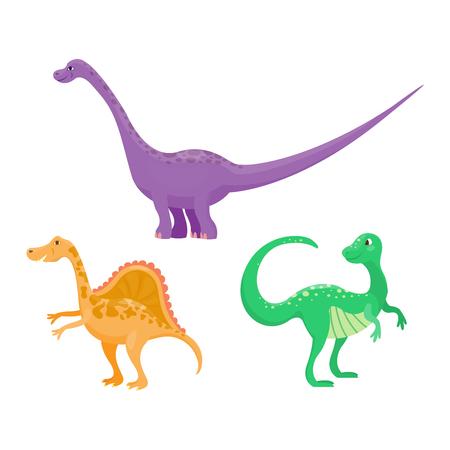 cartoon t rex: Dinosaur cartoon collection set vector illustration. Cartoon dinosaurs cute monster funny animal and prehistoric character cartoon dinosaurs. Cartoon comic tyrannosaurus fantasy dinosaurs.