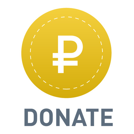 Vector donate concept hand and money button in flat style. Donation gift charity, isolated web donate button design sign contribute. Money giving symbol donate button sign Illustration