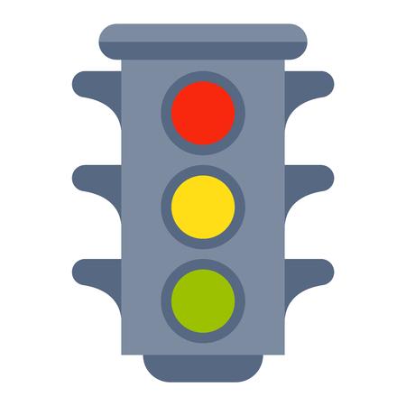 Traffic lights isolated on white background and cartoon traffic light isolated. Safety stop traffic light isolated and traffic light isolated warning transportation danger urban signal.