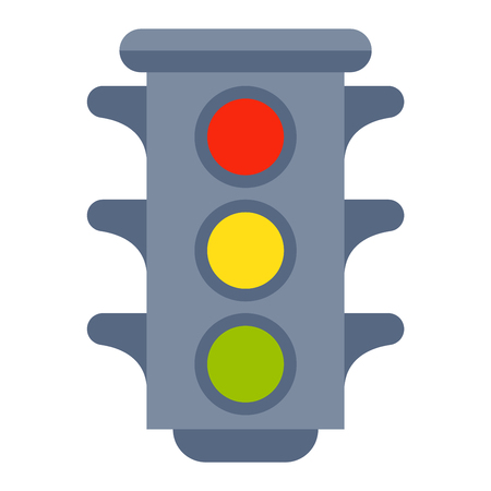 traffic lights isolated on white background and cartoon traffic