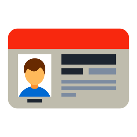 national identity: Car driver license identification with photo isolated, driver license vehicle identity vector. Driving national standard license flat vector illustration. Nationsl driver card license
