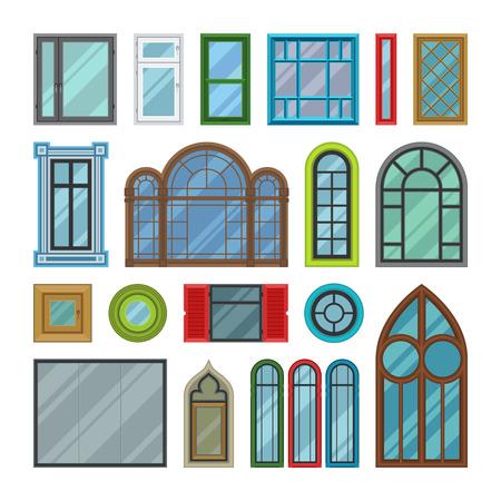 さまざまな種類の家の windows は、白い背景で隔離の要素をベクトルします。Windows の要素の平面ベクトル スタイル。Windows のベクトルのフレーム。Win
