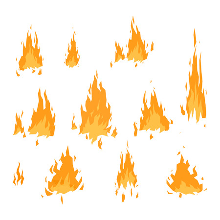 Fire flame hot burn vector icon. Warm danger fire flame and cooking yellow bonfire. Light blazing campfire ignite fire flame design and detail fireplace passion sign. Ilustração