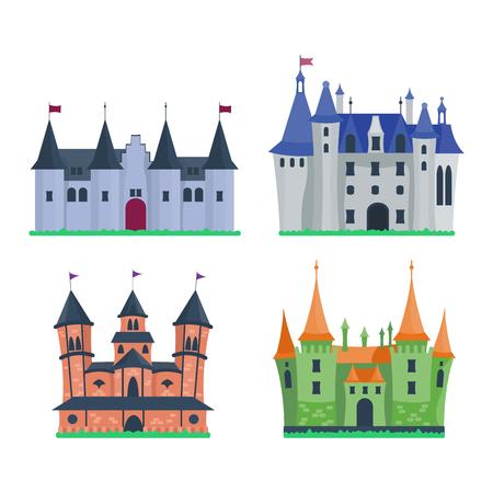 fable: Cartoon fairy tale castle tower icon. Cute cartoon castle architecture. Vector illustration fantasy house fairytale medieval castle. Princess cartoon castle cartoon stronghold design fable isolated