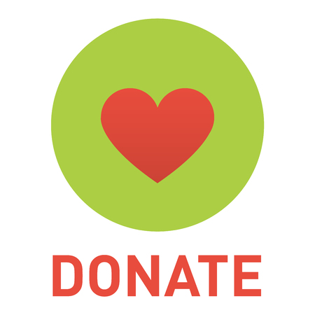 Vector donate concept hand and money button in flat style. Donation gift charity, isolated web donate button design sign contribute. Money giving symbol donate button sign Stock Illustratie