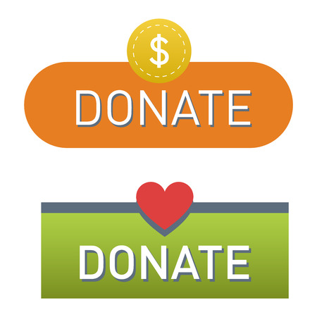 philanthropy: Vector donate concept hand and money button in flat style. Donation gift charity, isolated web donate button design sign contribute. Money giving symbol donate button sign Illustration