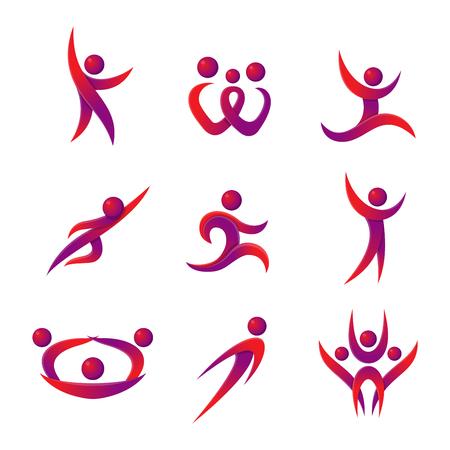 figura humana: Silueta de la gente del icono abstracto y resumen personas silueta. Rendimiento logo silueta de la gente figura abstracta plantean. Conjunto de personas abstractas siluetas logotipo del icono del vector