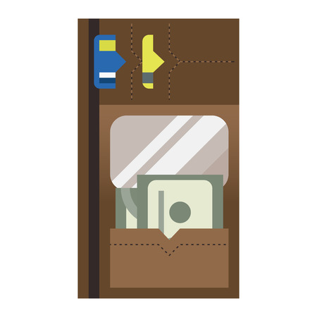 change business: Purse wallet icon with money shopping. Shopping buy change business currency purse wallet. Financial payment bag accessory object purse trendy wallet vector. Illustration