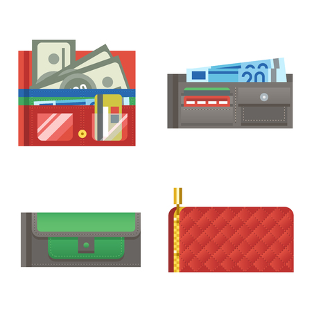 leather bag: Open purse leather wallet with money shopping. Shopping buy change business currency leather open purse wallet. Financial one payment bag accessory object open purse trendy wallet vector.