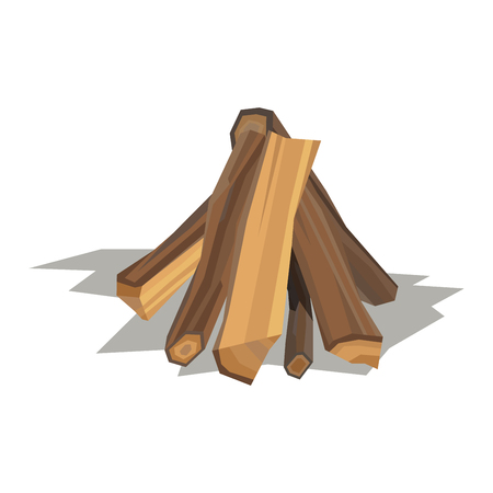 sliced tree: Firewood fireplace for bonfire stack vector wooden material. Firewood stacked wooden blocks. Firewood bonfire stack energy industry. Firewood fireplace stack vector illustration isolated