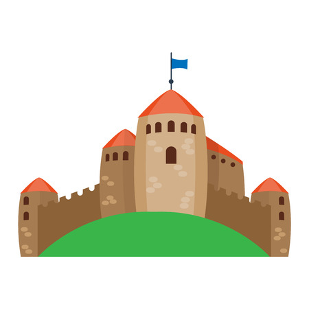 castle tower: Cartoon fairy tale castle tower icon. Cute cartoon castle architecture. Vector illustration fantasy house fairytale medieval castle. Princess cartoon castle cartoon stronghold design fable isolated