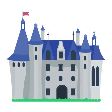 stronghold: Cartoon fairy tale castle tower icon. Cute cartoon castle architecture. Vector illustration fantasy house fairytale medieval castle. Princess cartoon castle cartoon stronghold design fable isolated