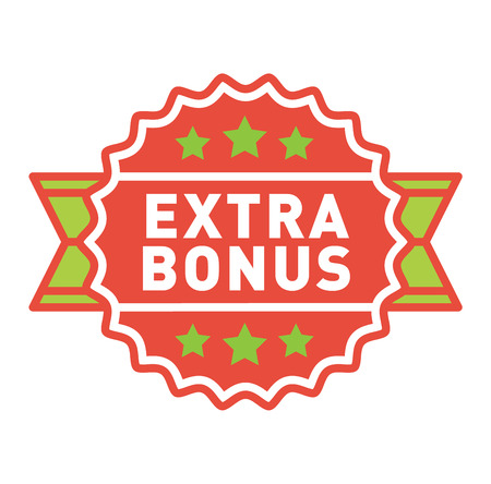 extra money: Super and extra bonus banner text in color drawn label, business shopping concept vector. Internet promotion shopping extra bonus label button. Extra bonus label button advertising discount marketing. Illustration