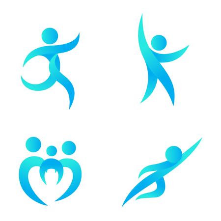 Silhouet van abstracte mensen pictogram en abstract silhouet mensen. Prestaties silhouette logo mensen abstracte figuur opleveren. Set van abstracte mensen logo silhouetten vector icon Stock Illustratie