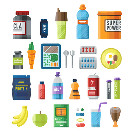 power food: Sports nutrition food icons in flat style detailed vector illustration. Sports food nutrition healthy food and sports nutrition fitness diet. Sports nutrition food bodybuilding proteine power drink