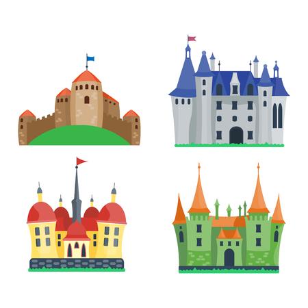 Cartoon fairy tale castle tower icon. Cute cartoon castle architecture. Vector illustration fantasy house fairytale medieval castle. Princess cartoon castle cartoon stronghold design fable isolated Vetores
