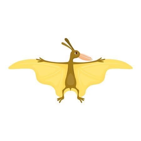 Dinosaur pterodactyl cartoon vector illustration. Cartoon dinosaurs cute monster funny animal and prehistoric character pterodactyl cartoon dinosaur. Cartoon comic fantasy pterodactyl dinosaur reptile