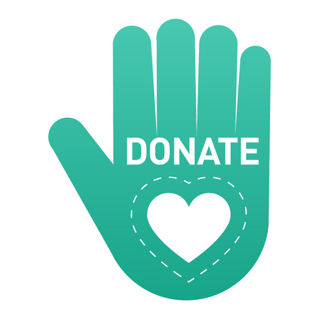 aiding: Vector donate concept hand and money button in flat style. Donation gift charity, isolated web donate button design sign contribute. Money giving symbol donate button sign Illustration