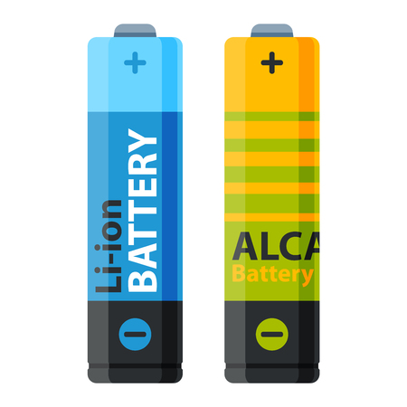 alkaline: Battery electricity charge technology and alkaline. Flat battery accumulator symbol generation voltage. Color batterie electricity charge technology vector.