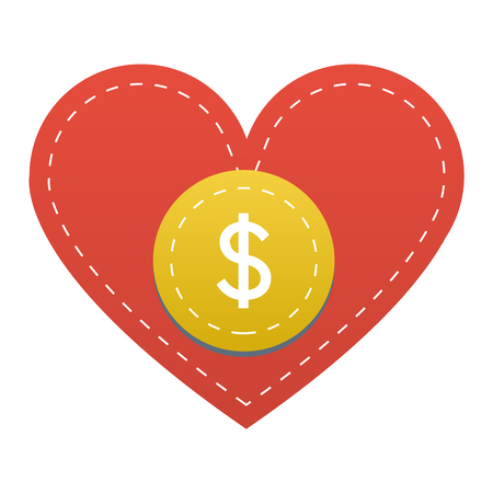 Vector donate concept hand and money button in flat style. Donation gift charity, isolated web donate button design sign contribute. Money giving symbol donate button sign Ilustracja