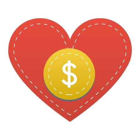 Vector doneren concept van de hand en geld knop in vlakke stijl. Donatie gift liefdadigheid, geïsoleerde web doneren knop ontwerp teken dragen. Geld geven symbool doneren knop teken Stock Illustratie