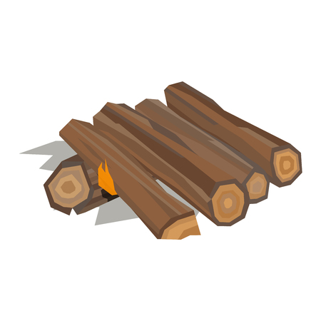 wooden blocks: Firewood fireplace for bonfire stack vector wooden material. Firewood stacked wooden blocks. Firewood bonfire stack energy industry. Firewood fireplace stack vector illustration isolated